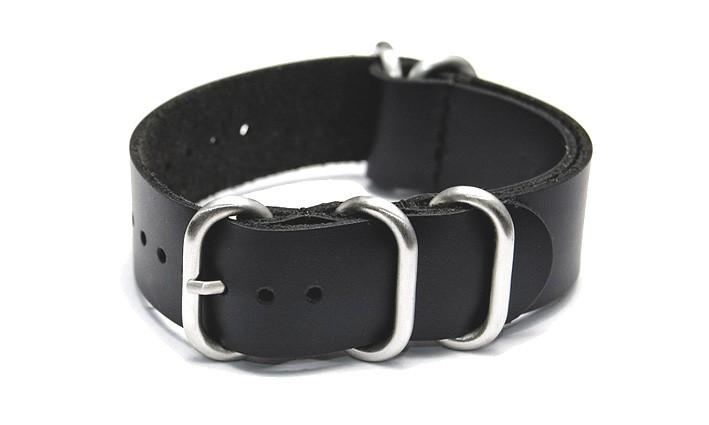 Řemínek k hodinkám ZULU Strap - Kožený - černá 18 mm