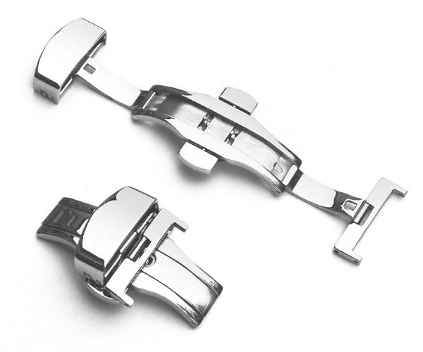 Motýlová spona k řemínku k hodinkám - Nerezová stříbrná 16 mm