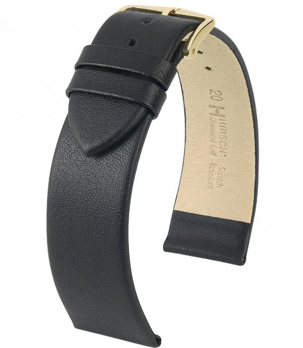 Řemínek k hodinkám HIRSCH Diamond Calf - černá (50) 20 mm pánský