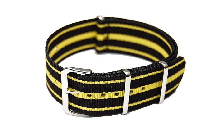 Řemínek k hodinkám NATO Strap - Černá / žlutá - šíře 22 mm (3 pruhy)