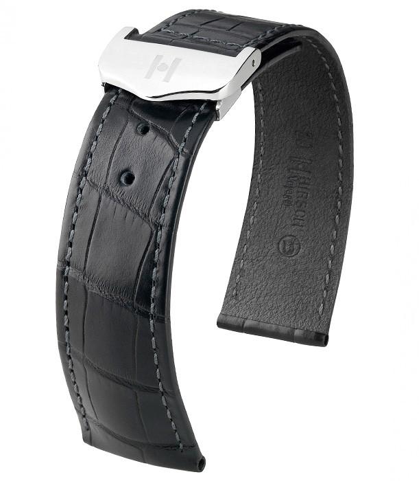Řemínek k hodinkám HIRSCH Voyager Alligator - tmavě hnědá (17) 22>18 mm