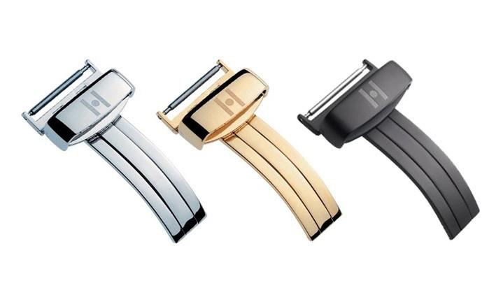 Překlápěcí spona k řemínku k hodinkám Plus - Nerezová zlacená (YG) 18 mm