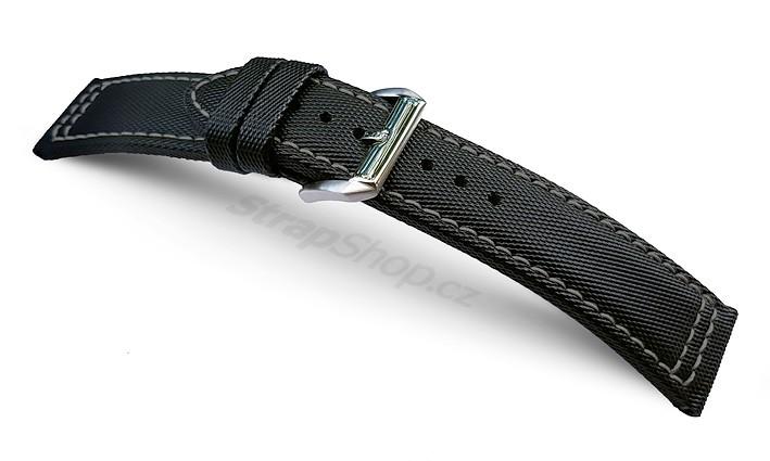 Řemínek k hodinkám CAMPAGNOLO Sailcloth - černé prošití (01) 24 mm
